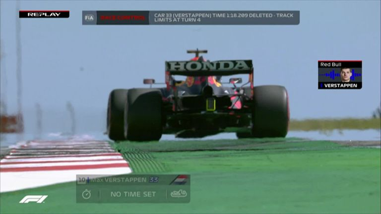 Max Verstappen has his lap time deleted for going wide on Turn Four during qualifying in Portimao