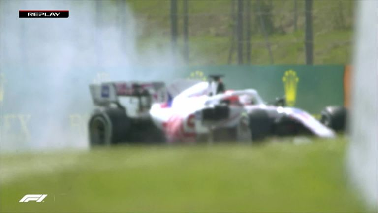 Nikita Mazepin spins into the gravel inside the first three minutes of P1.
