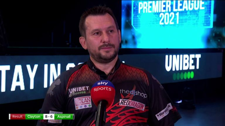 Jonny Clayton was delighted with his win over Nathan Aspinall and told Michael Bridge that he can't wait to see fans back at the darts.