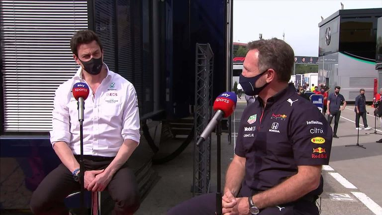 Red Bull team principal Christian Horner and Mercedes counterpart Toto Wolff discussed their two teams' latest epic battle at Barcelona.