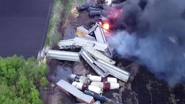 Drone footage shows fire and scale of massive train derailment in Iowa