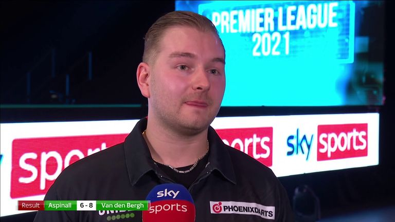 Dimitri Van den Bergh says he's proud of his performance in the 8-6 victory over Nathan Aspinall in the Premier League Darts