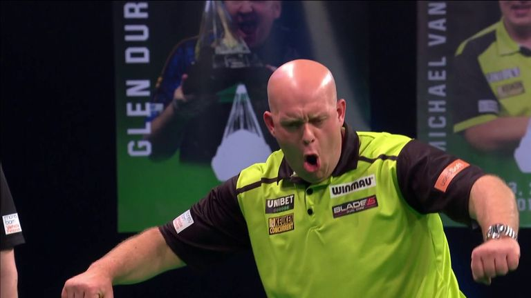 Michael van Gerwen finishes with a 124 checkout on the bullseye to defeat Jonny Clayton in the Premier League Darts