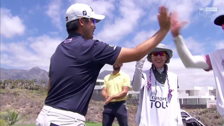 Masahiro Kawamura followed three consecutive birdies with a stunning hole-in-one during the second round of the Canary Islands Championship