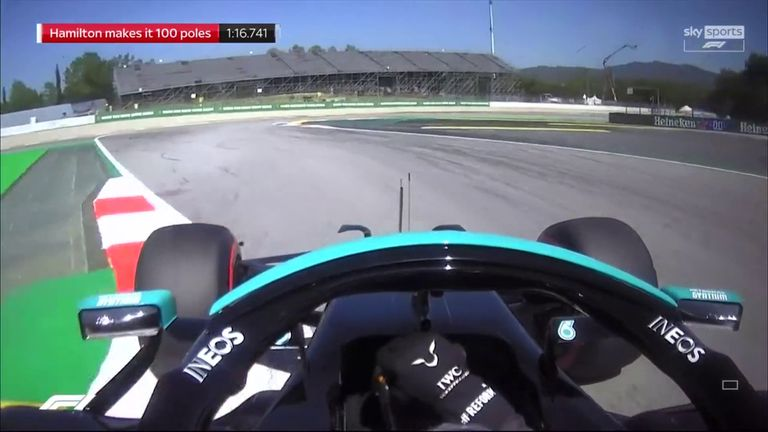 Watch and listen in full to Lewis Hamilton's Spanish GP pole position lap as he reaches a unique qualifying century in F1.