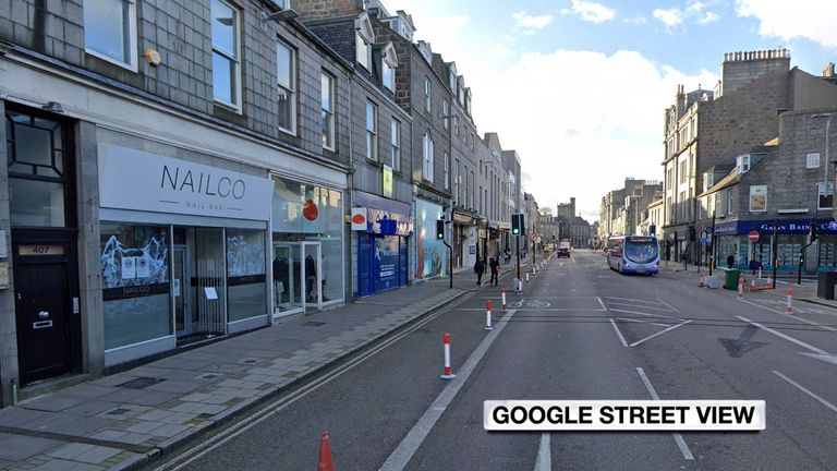 The incident happened outside Nailco Nail Bar in Aberdeen, where the woman who was struck worked