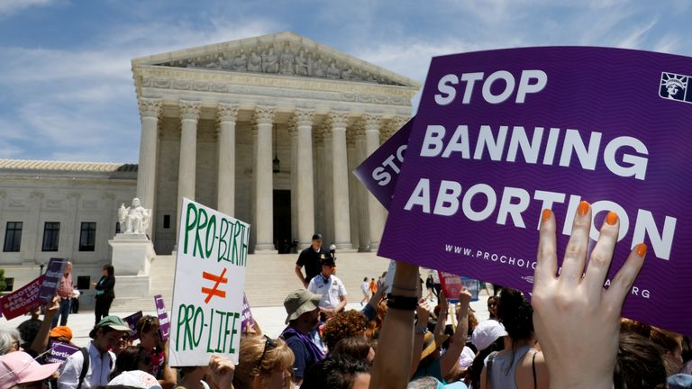 Abortion rights campaigners in the US. File pic