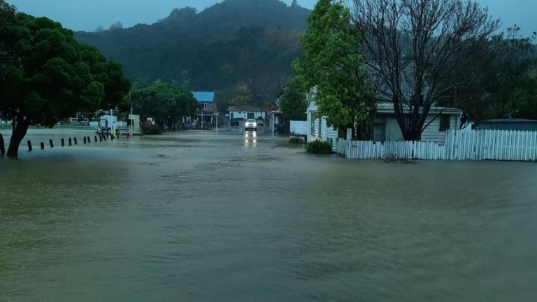 Flooding in the town of Akaroa, on NZ's South Island. Pic: Christchurch City Council