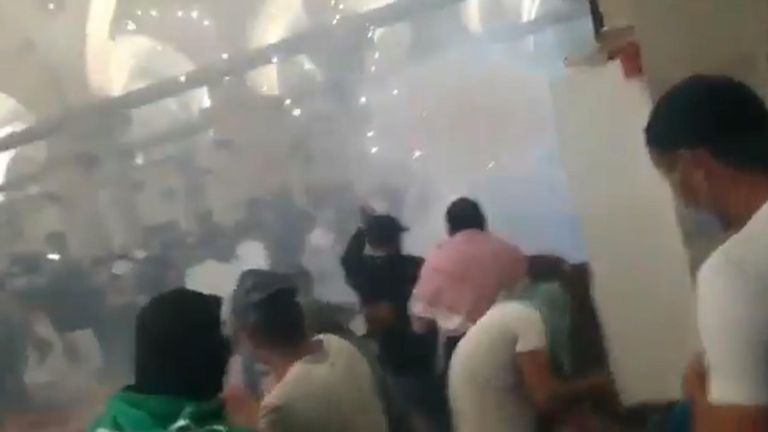 Teargas and stun grenades inside Al-Aqsa mosque