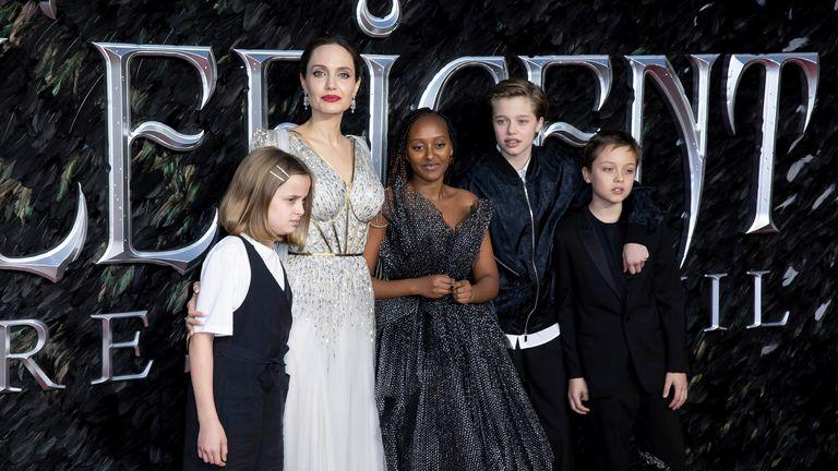 Jolie and her children Vivienne, Zahara, Shiloh and Knox Leon. Pic: Grant Pollard/Invision/AP