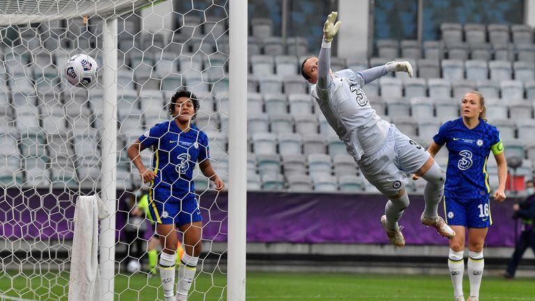 Chelsea's goalkeeper Ann-Katrin Berger fails to save the ball as her teammate Melanie Leupolz scores an own goal. Pic: AP