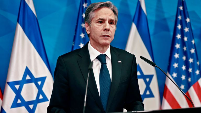 US Secretary of State Anthony Blinken speaks during a joint press conference with Israeli prime minister in Jerusalem on May 25, 2021, days after an Egypt-brokered truce halted fighting between the Jewish state and the Gaza Strip's rulers Hamas. (Photo by Menahem KAHANA / AFP)