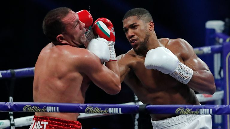 Anthony Joshua defeated Kubrat Pulev in London in December 2020. Pic: AP