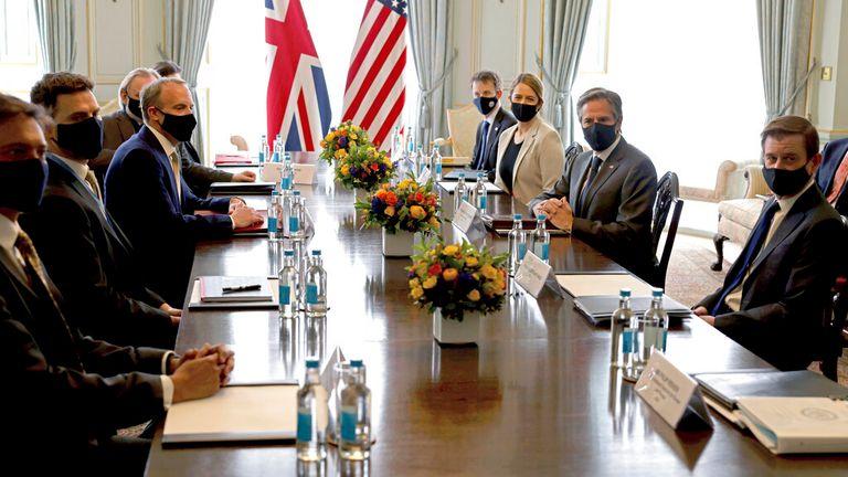 Dominic Raab meets US Secretary of State Antony Blinken for a UK-US bilateral ahead of this week's G7 meetings