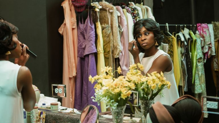 Aretha Franklin (Cynthia Erivo) in her dressing room preparing to perform on The Steve Allen Show in Genius: Aretha. Pic: National Geographic/Richard DuCree