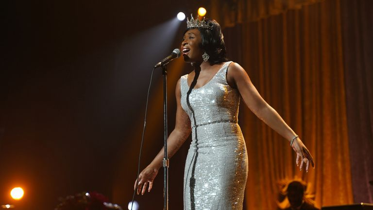 Queen of Soul Aretha Franklin (Cynthia Erivo) performing on stage in Genius: Aretha. Pic: National Geographic/Richard DuCree