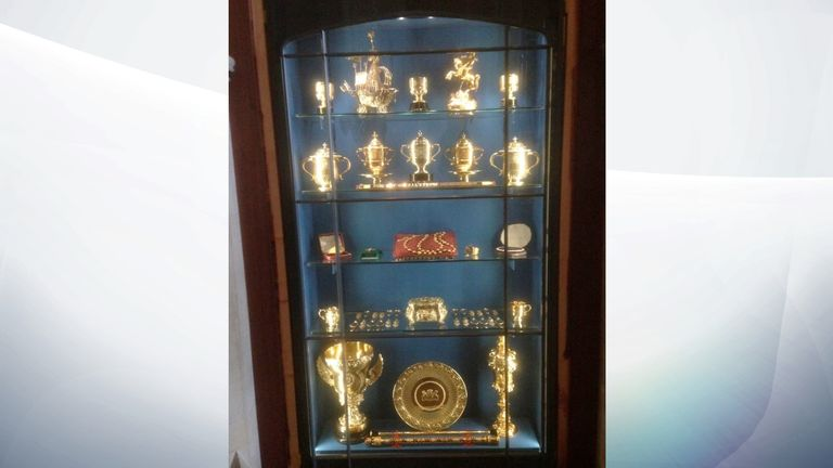 Items were  stolen from a display cabinet