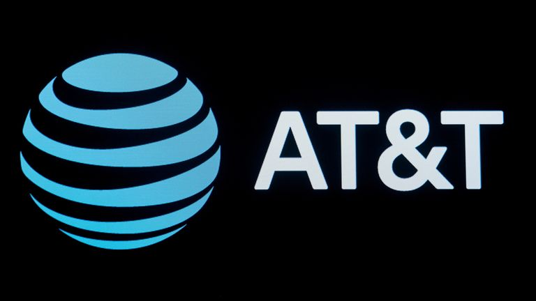 The company logo for AT&T is displayed on a screen on the floor at the New York Stock Exchange (NYSE) in New York, U.S., September 18, 2019
