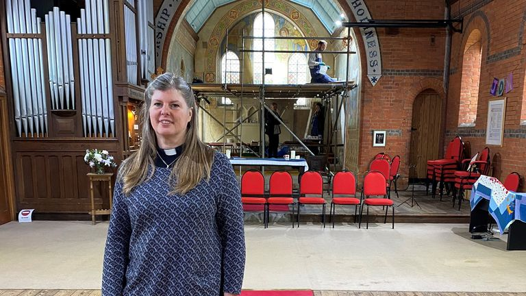 Work has started at St Mark's in the parish of Badshot Lea and Hale to clean and re-colour life-size pieces completed in the early 20th century by Kitty Milroy. Pictured is vicar Rev Lesley Crawley