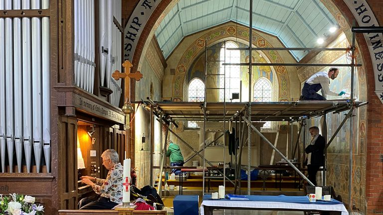 Work has started at St Mark's in the parish of Badshot Lea and Hale to clean and re-colour life-size pieces completed in the early 20th century by Kitty Milroy