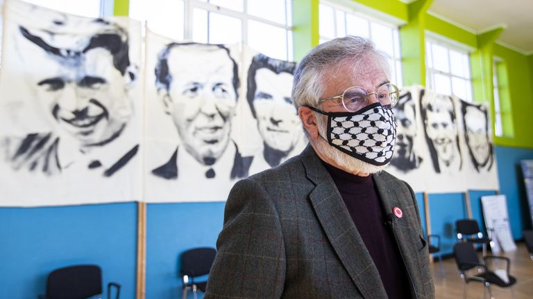 Former Sinn Fein president Gerry Adams was present at an event involving families of people who were killed at Ballymurphy