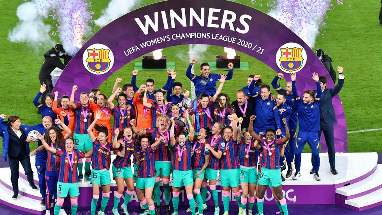Barcelona beat Chelsea 4-0 to win Women's Champions League final. Pic: AP