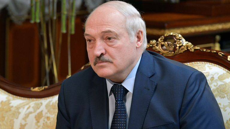 Belarusian President Alexander Lukashenko attends a meeting with Russian Prime Minister Mikhail Mishustin in Minsk, Belarus April 16, 2021. Sputnik/Alexander Astafyev/Pool via REUTERS ATTENTION EDITORS - THIS IMAGE WAS PROVIDED BY A THIRD PARTY.