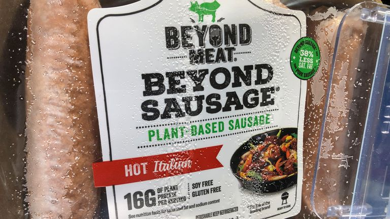 Vegetarian sausages from Beyond Meat Inc, the vegan burger maker, are shown for sale at a market in Encinitas, California, U.S., June 5, 2019