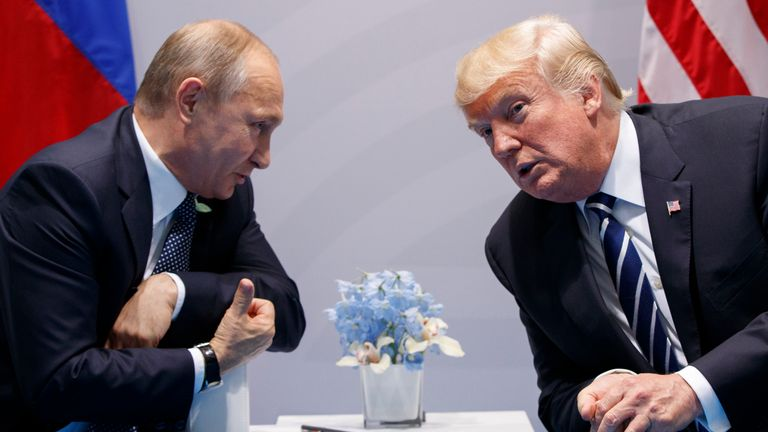 Mr Biden is keen to have a different relationship with Mr Putin (left) than his predecessor Donald Trump (right). Pic: AP
