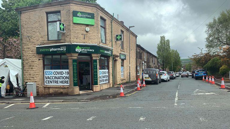 A covid vaccination centre in Blackburn