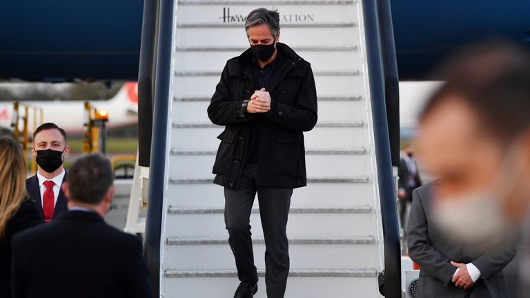 U.S. Secretary of State Antony Blinken disembarks after landing at Stansted Airport, outside London, Britain May 2, 2021 ahead of the upcoming G7 foreign ministers meeting. Ben Stansall/Pool via REUTERS