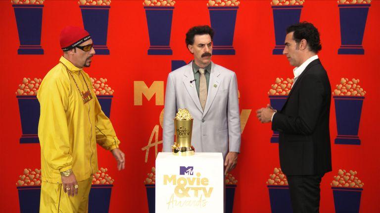 Sacha Baron Cohen appeared alongside his comedy creations Borat and Ali G. Pic: MTV