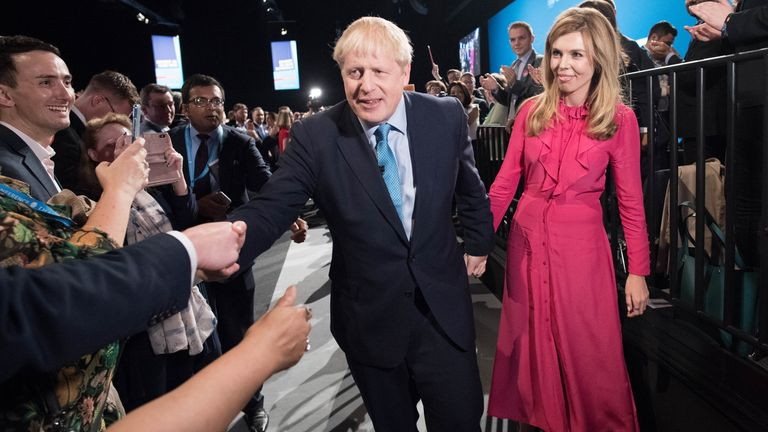 Boris Johnson and Carrie Symonds at the 2019 Tory conference