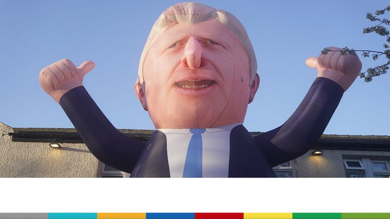 A 30ft inflatable Boris Johnson is erected outside Mill House Leisure Centre in Hartlepool, where votes are being counted for the Hartlepool parliamentary by-election