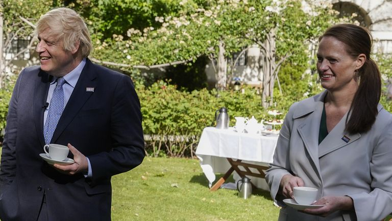 Boris Johnson and Jenny McGee at a Downing Street garden party in July 2020