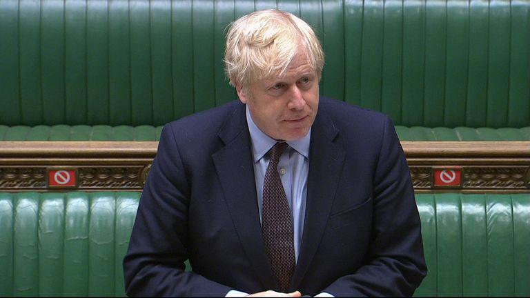 Prime Minister Boris Johnson at PMQs