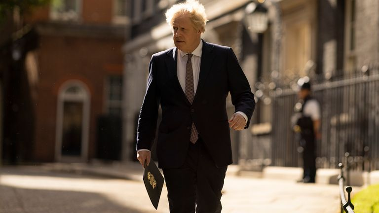 10/05/2021. London, United Kingdom. Prime minister Boris Johnson walks to Covid-19 press conference in 10 Downing Street. Picture by Simon Dawson / No 10 Downing Street