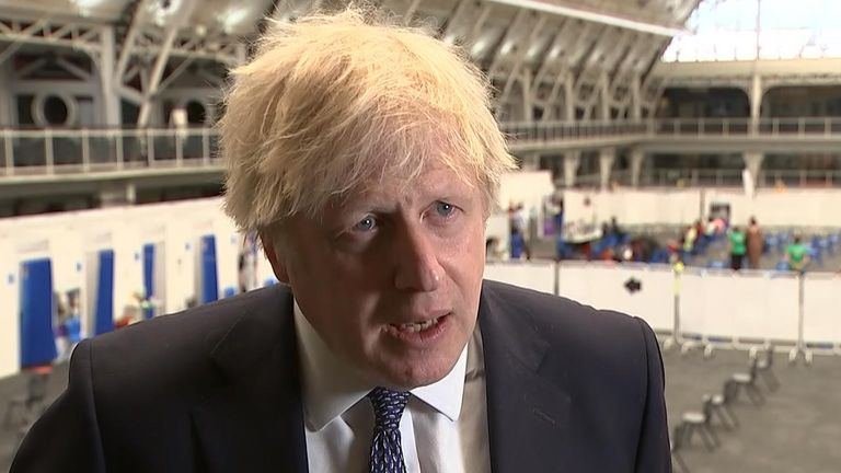 Prime Minister Boris Johnson urged people to have a jab at a vaccination centre in North London