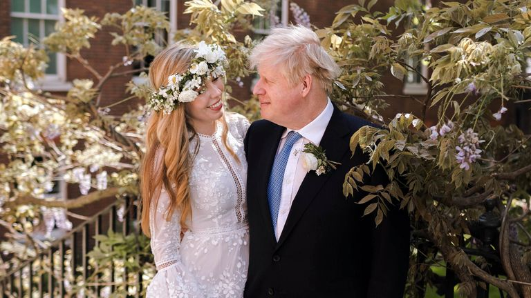 Boris Johnson and Carrie Johnson in the garden of 10 Downing Street after their wedding on Saturday.