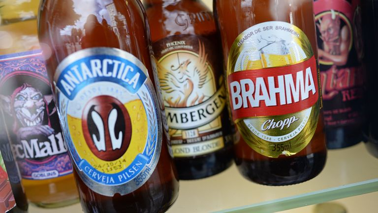 Bottles of Brazilian beer of the brands Antarctica and Brahma are on display amongst other beer brands in a kiosk in Munich, Germany, 1 August 2014. Pic: AP