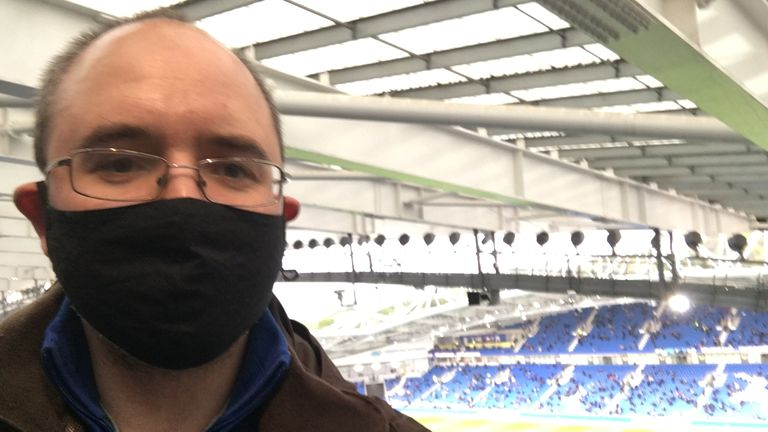 Sky's John-Paul Ford Rojas reporting for business as Brighton welcomed fans for their final home game