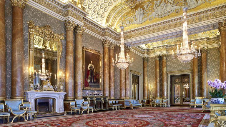 El salón azul del Palacio de Buckingham