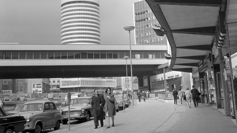 The Bull Ring shopping complex in the centre of Birmingham. 10/6/1966