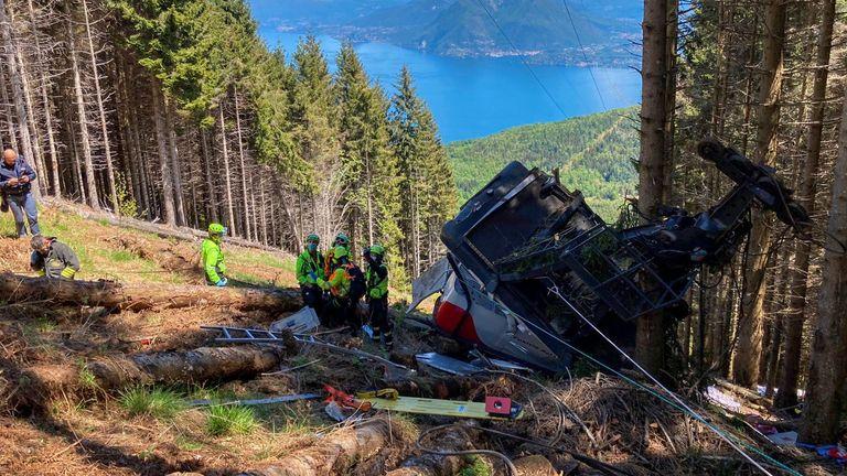 Rescuers at the crash site. PIC: Italy Alpine rescue service