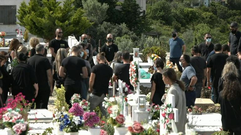 Dozens of mourners at the funeral on Alonissos