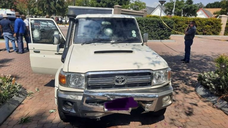 Damage was done to the driver's door and windscreen. Pic: @Abramjee/Twitter