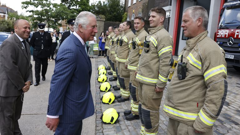 The Prince of Wales met firefighters and thanked them for their service