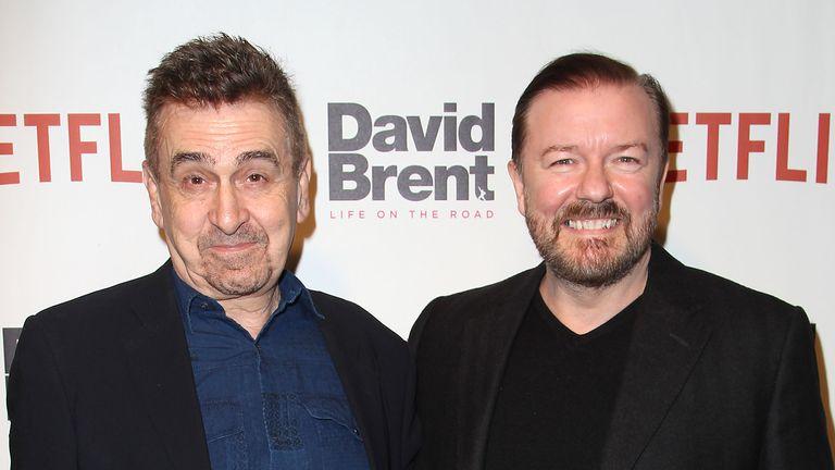 Charlie Hanson and Ricky Gervais. Pic: Kristina Bumphrey/Starpix/Shutterstock