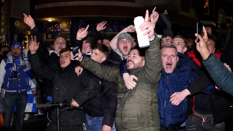 Fans celebrated outside the ground