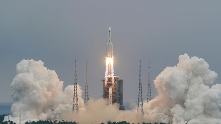 The Long March 5B Rocket took off from the Wenchang Space Launch Center on 29 April